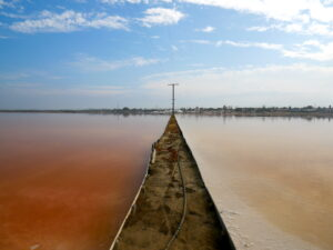 A dirt path separates two salt ponds on either side. On the left, a deep pink-red pond with still water, and on the right, a white-pink lake with still water.