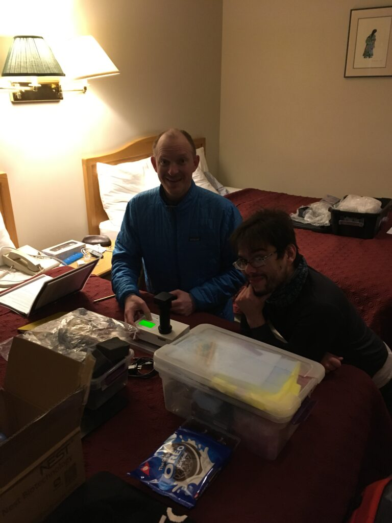 Chris Carr and Mario Toubes-Rodrigo (Open University) running ATP measurements on samples at the Cariboo Lodge (our hotel/makeshift lab) in Clinton BC.