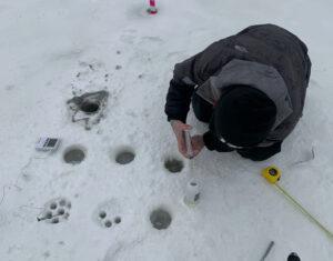 Taking samples at the Basque Lakes